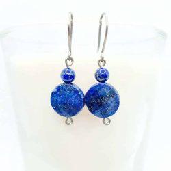 Cercei titan cu lapis lazuli