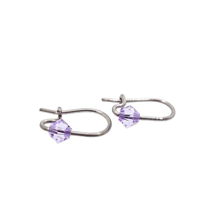 Cercei violet titan pur pentru copii mici