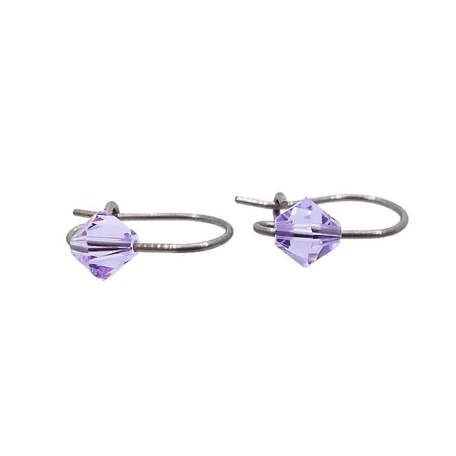 Cercei violet pentru copii din titan pur