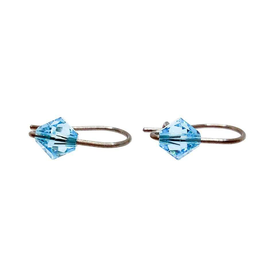 Cercei titan pentru copii Swarovski Turquoise (2)